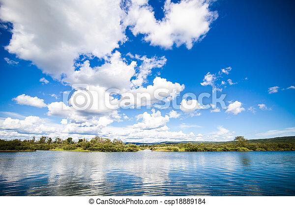 синий, удивительно, река, небо, спокойный - csp18889184