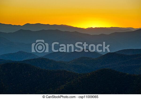 синий, mountains, хребет, layers, аппалачи, закат солнца, западный, ridges, сценический, север, автострада, пейзаж, каролина - csp11009065