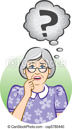 старшая, женщина, смущенный - csp5780440