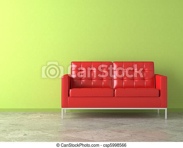 стена, зеленый, красный, диван - csp5998566