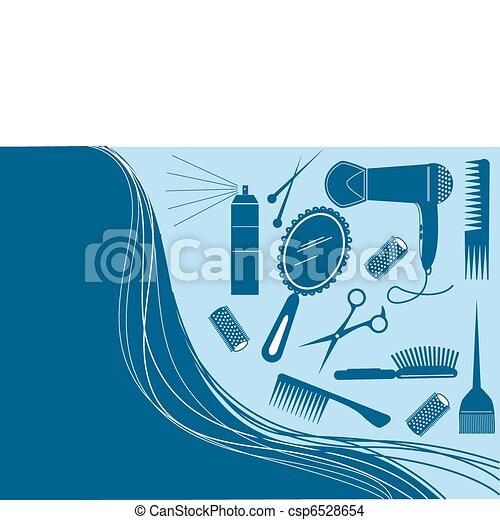 стиль, волосы, красота, салон, вектор, element. - csp6528654