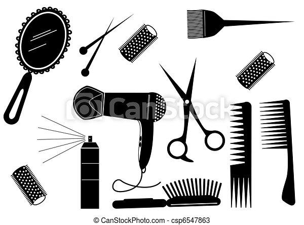 стиль, волосы, красота, салон, вектор, element. - csp6547863