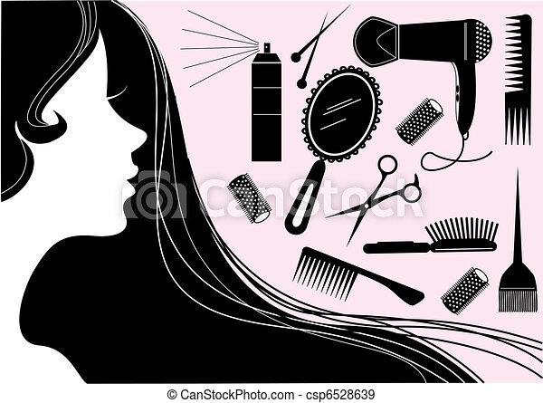 стиль, волосы, красота, салон, вектор, element. - csp6528639