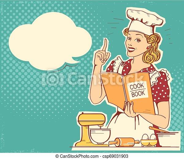 стиль, женщина, держа, room., марочный, готовка, молодой, шеф-повар, вектор, ретро, задний план, готовить, одежда, книга, кухня - csp69031903