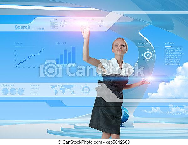 с помощью, технологии, будущее, блондинка, счастливый - csp5642603