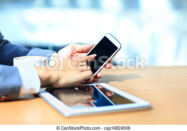 таблетка, успех, workflow, мобильный, concept., современное, бизнесмен, компьютер, phone., цифровой, новый, с помощью, технологии - csp16824506