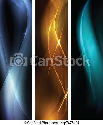темно, абстрактные, задавать, баннер, волна - csp7675404