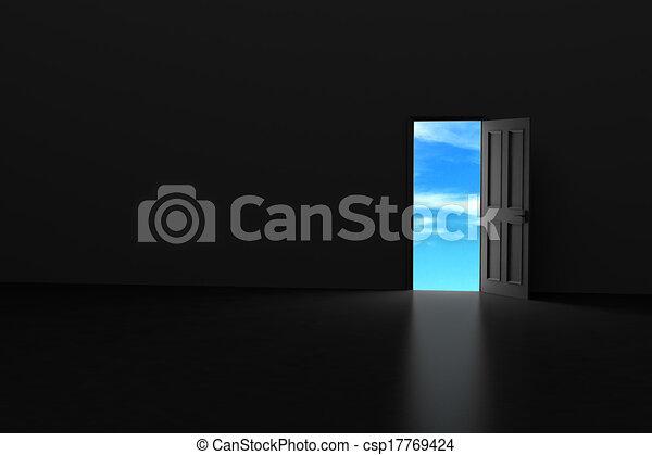 темно, door., открытый, комната - csp17769424