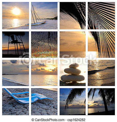 тропический, коллаж, пляж, закат солнца - csp1624282