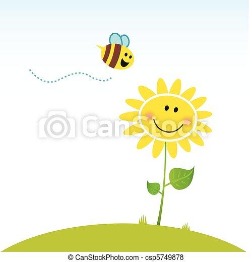 цветок, счастливый, весна, пчела - csp5749878