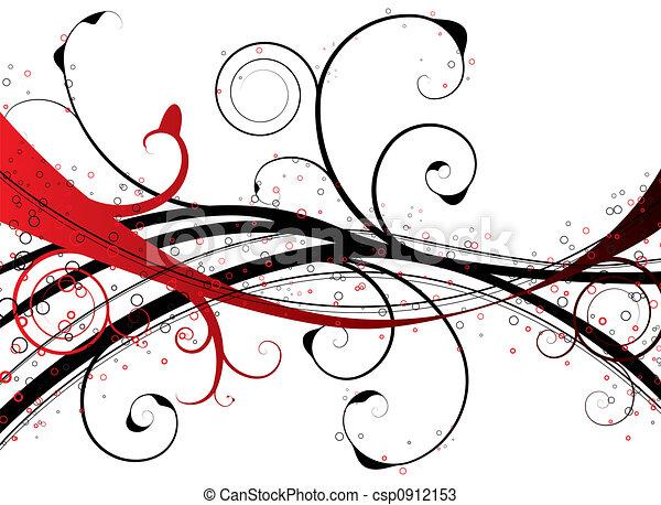 цветочный, водоворот, красный - csp0912153