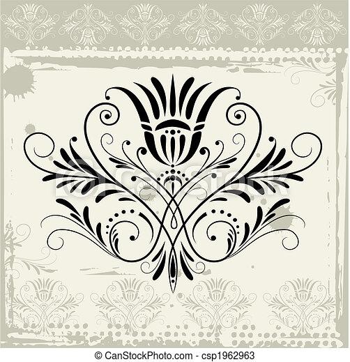 цветочный, гранж, орнамент, задний план - csp1962963