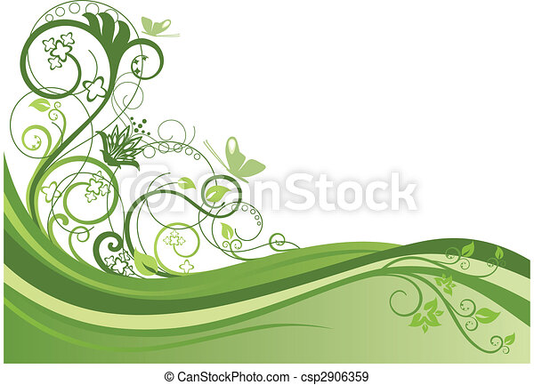 цветочный, дизайн, 1, граница, зеленый - csp2906359