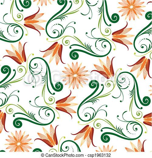цветочный, шаблон, белый, задний план - csp1963132