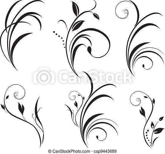 цветочный, sprigs., оформление, elements - csp9443689