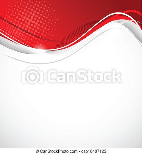 цвет, абстрактные, волнистый, красный, задний план - csp18407123