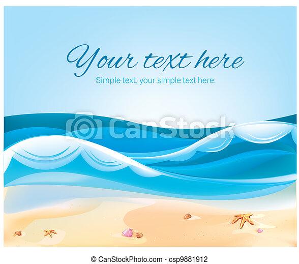 цвет, лето, пляж, иллюстрация, океан - csp9881912