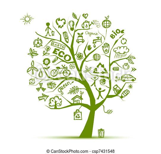 экология, дерево, концепция, зеленый, дизайн, ваш - csp7431548