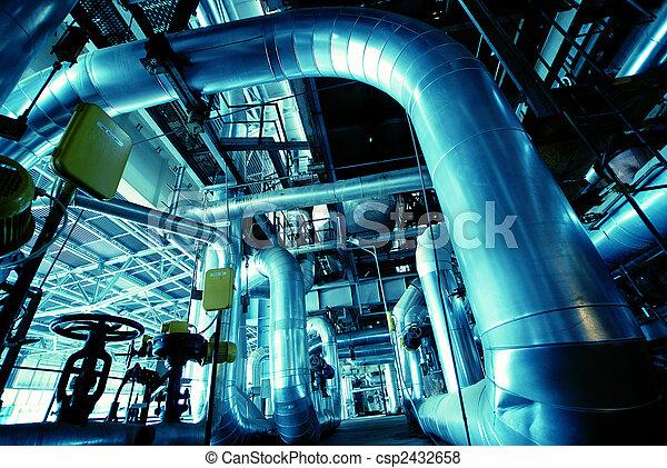 cables, внутри, оборудование, современное, найденный, промышленные, мощность, трубопровод, растение - csp2432658