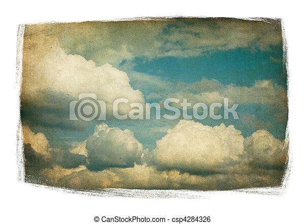 clouds, окрашенный, марочный, пушистый, небо, isolated, white., рамка - csp4284326