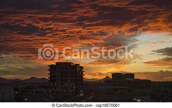 cloudscape, скотсдейл, над, сумерки - csp18570061