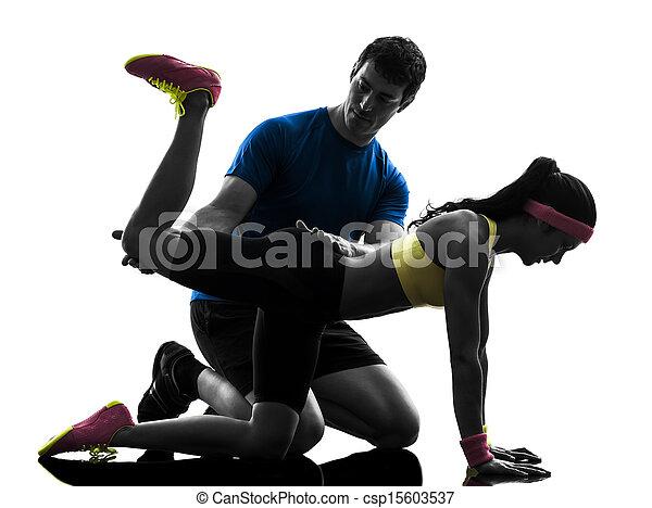 exercising, доска, разрабатывать, тренер, человек, женщина, фитнес, должность - csp15603537