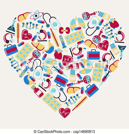 heart., icons, медицинская, форма, здоровье, забота - csp14690813