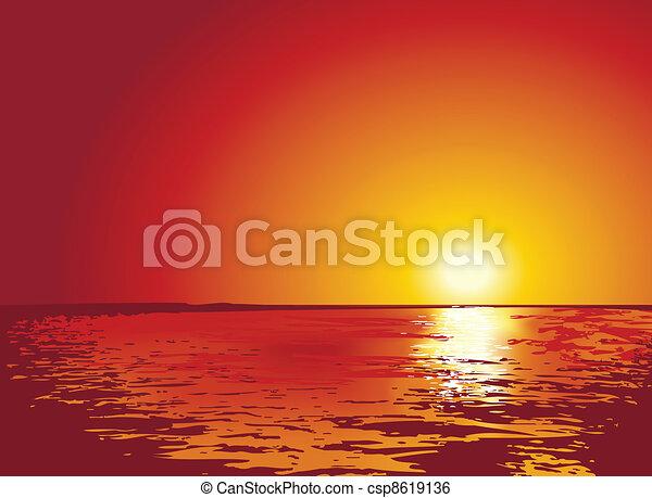 illustrations, закат солнца, или, восход, море - csp8619136