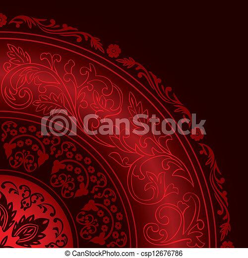patterns, декоративный, марочный, красный, рамка, круглый - csp12676786