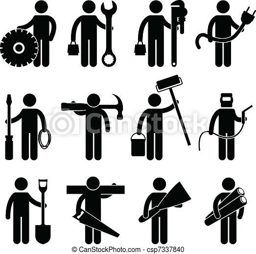 pictog, работа, строительство, работник, значок - csp7337840
