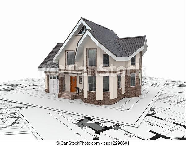 project., жилой, корпус, архитектор, дом, blueprints. - csp12298601