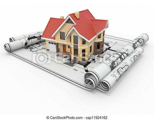 project., жилой, корпус, архитектор, дом, blueprints. - csp11924162