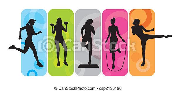 silhouettes, фитнес - csp2136198