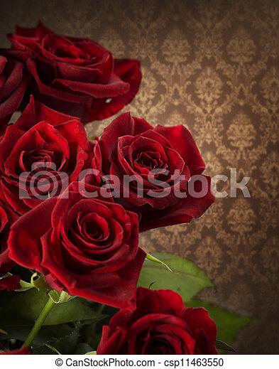 styled, bouquet., roses, красный, марочный - csp11463550