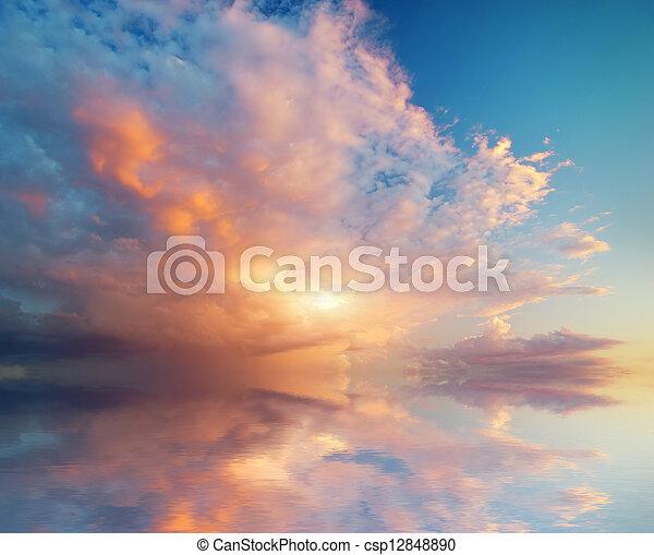 sunset., небо, задний план - csp12848890