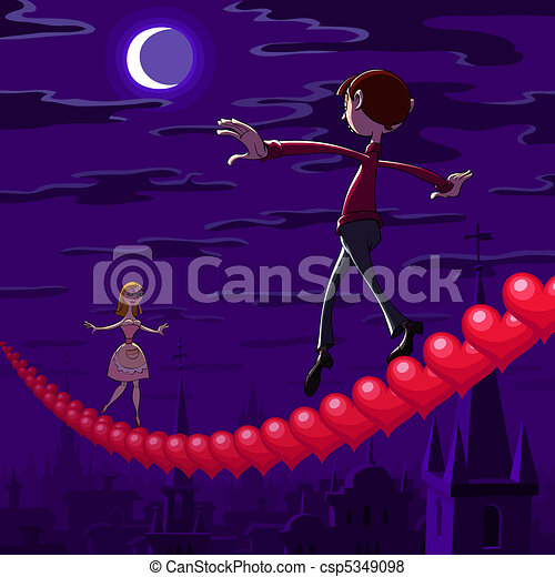 valentine's, balancing, ночь - csp5349098