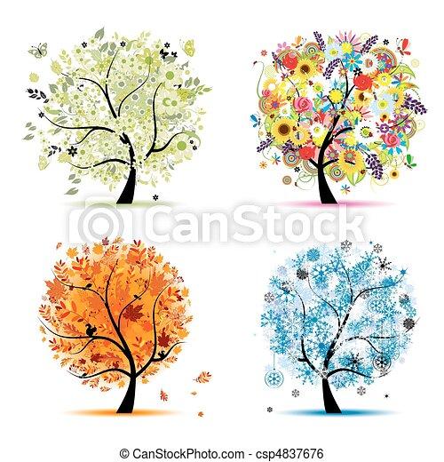 winter., красивая, изобразительное искусство, весна, осень, -, дерево, 4, дизайн, seasons, ваш, лето - csp4837676